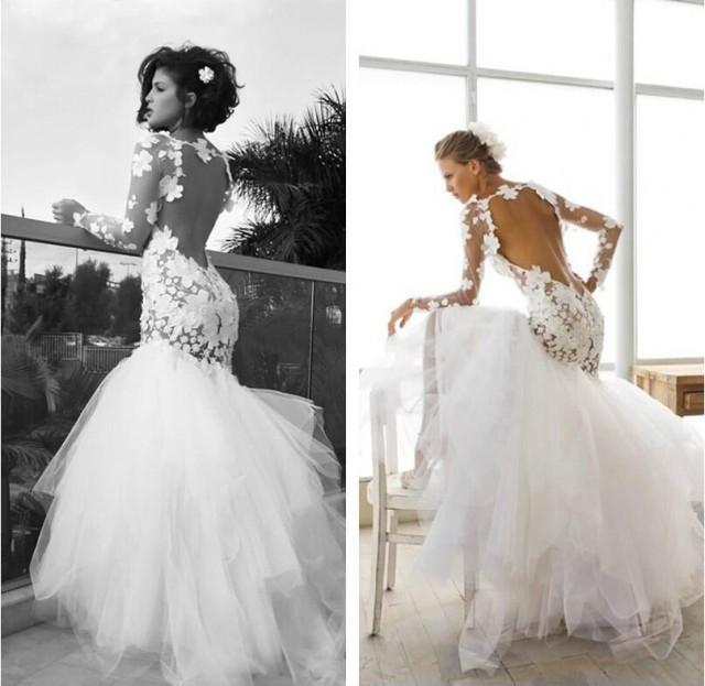 Dreamlike Flower Wedding Dresses Crew Mermaid Sheer Long