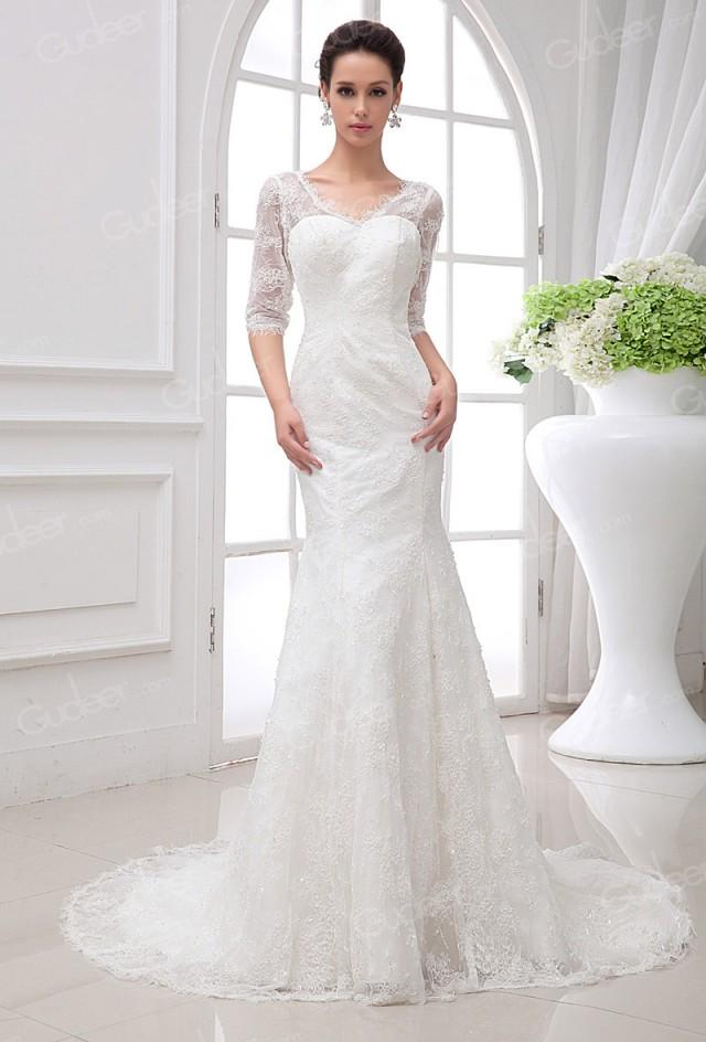 Sheer lace half sleeves v neck sweetheart mermaid wedding for Wedding dresses with half sleeves