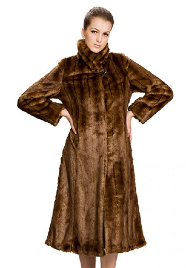 wedding photo - Faux brown rabbit fur long women coat