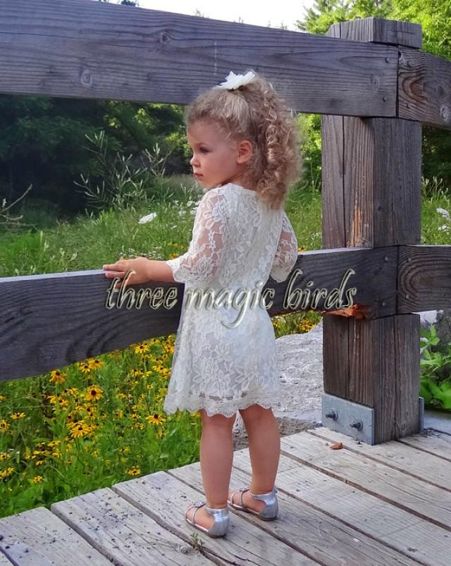 wedding photo - Lace Flower Girl Dress-Christening Baptism Dress-Rustic Flower Girl-Long Sleeve Flower Girl Dress-Bridesmaid-Country Flower Girl-Birthday