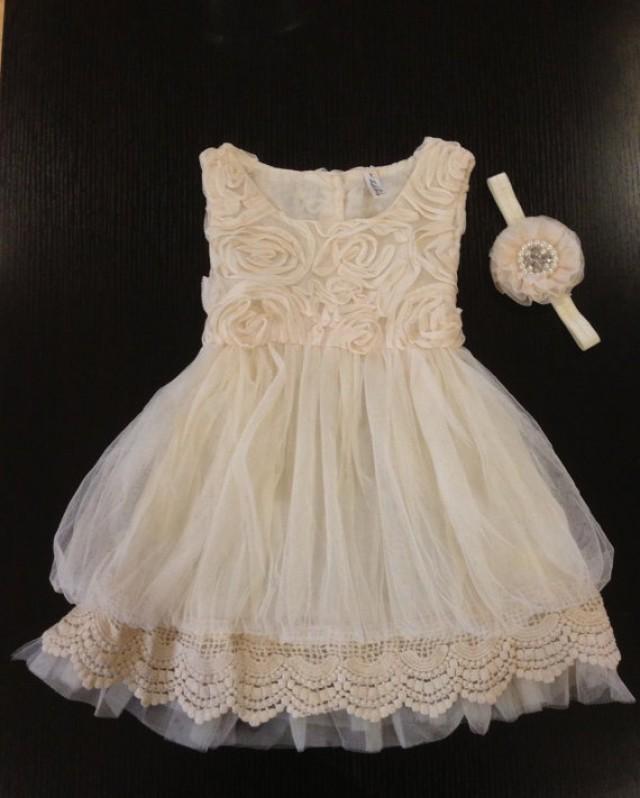 Flower Girl Dress Ivory, Rosette Dress, Ivory Dress ...  Ivory Lace Vintage Flower Girl Dress