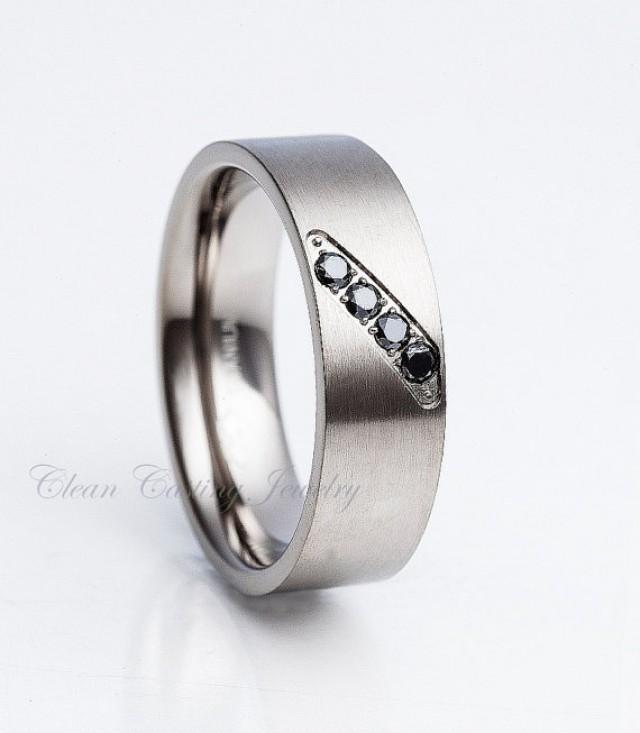 Men 39 S Black Diamond Titanium Ring Titanium Wedding Band Brushed Polish Pi