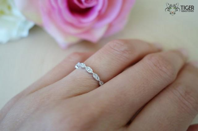art deco wedding band delicate stacking layering