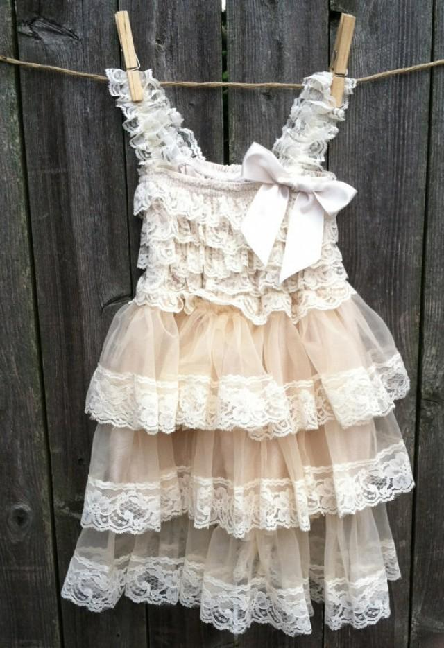 Rustic flower girl dress lace pettidress rustic flower for Country wedding flower girl dresses
