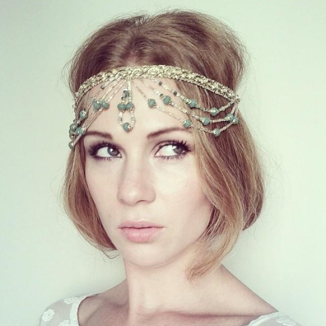 Indian Wedding Headdress: Gold And Green Beaded And Jewel Headpiece