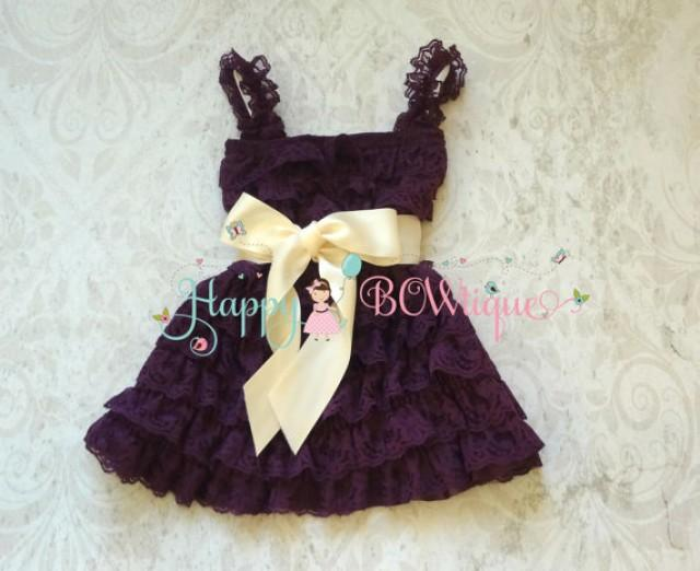 wedding photo - Flower girl dress- Purple Ivory Plum Bow Lace Dress, baby girl dress,Rustic wedding dress,baby dress,flower girl dress,Purple dress,Birthday