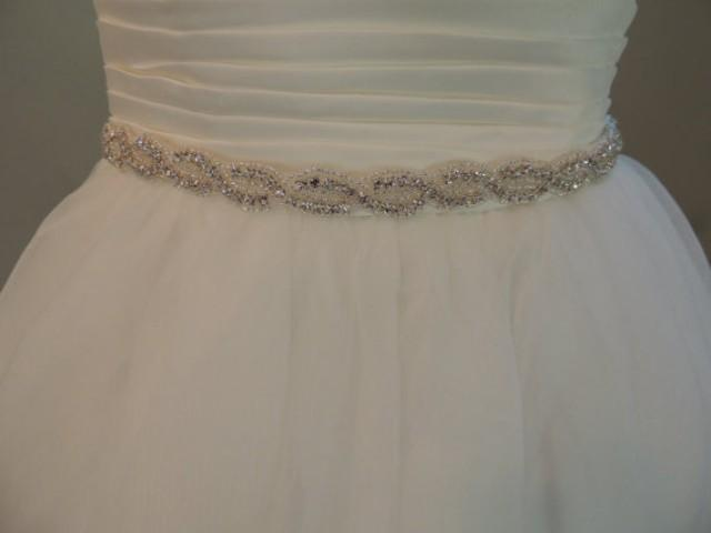 Crystal sash wedding dress belt rhinestones beaded for Ivory wedding dress belt