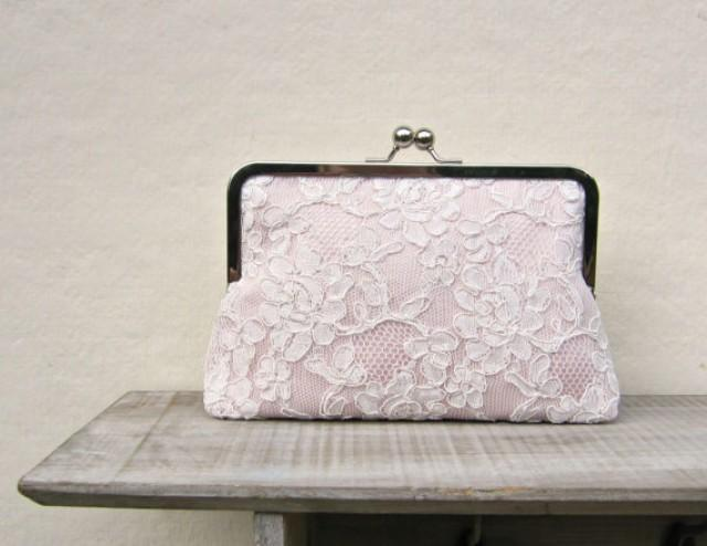 Blush Clutch Blush Bridal Clutch Lace Wedding Clutch Blush Bridesmaid Clutch Pink Lace Purse ...