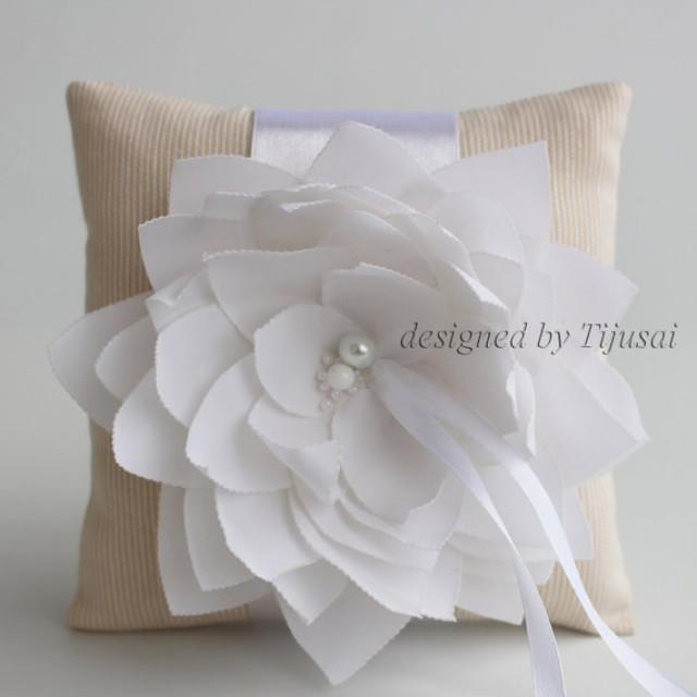 Beige Stripy Wedding Pillow With White Lily Flower Ring Bearer Pillow Wed