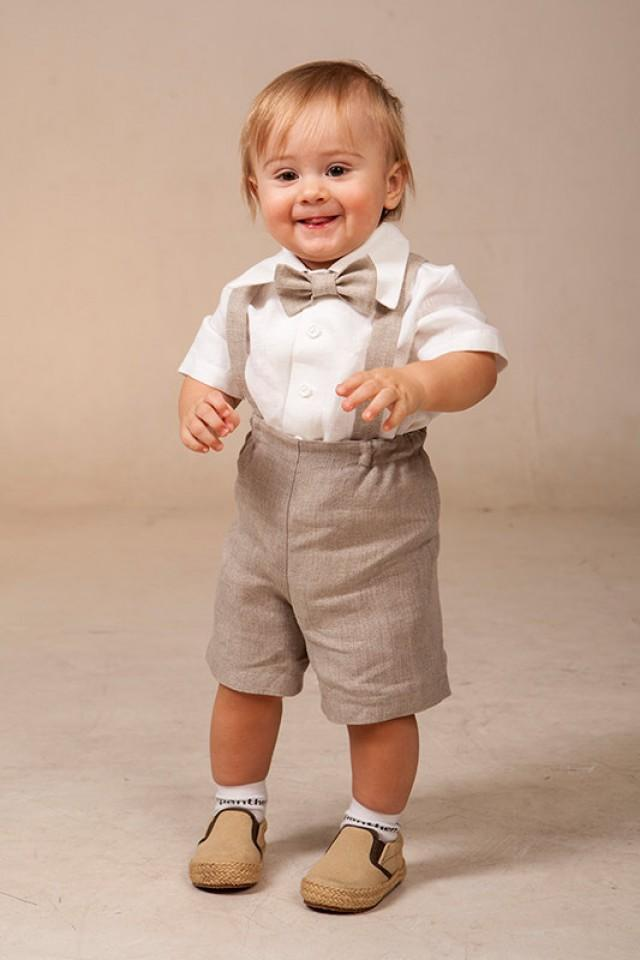 Baby Boy Linen Suit Ring Bearer Outfit SET Of 4 First ...