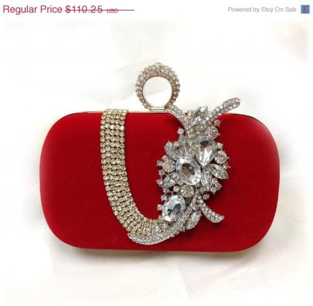 Wedding Clutch Bridesmaid Clutch Red Clutch Evening Bag Bridesmaid Bag Crystal Clutch ...