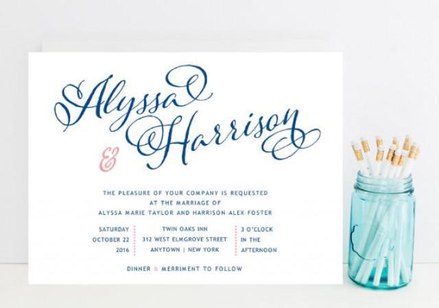 Navy And Pink Wedding Invitation   Whimsical Script Navy Pink Wedding  Invitations   Fast Wedding Invitations #2215010   Weddbook