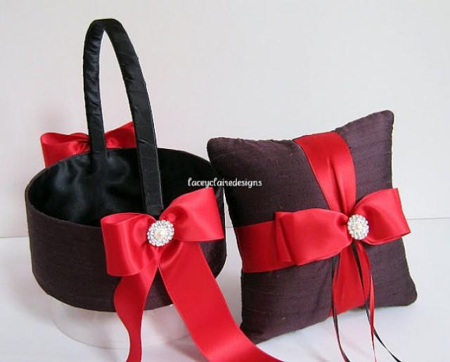 flower girl basket and wedding ring pillow ring bearer pillow set custom made 2215011 weddbook. Black Bedroom Furniture Sets. Home Design Ideas