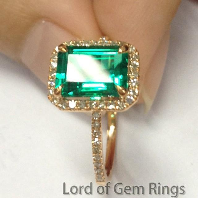 2 56ct Emerald Engagement Ring Wedding Ring Diamond Halo In Solid 14K Yellow