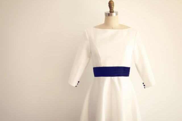 Custom make vintage audrey boat neckline long sleeves for Blue sash for wedding dress