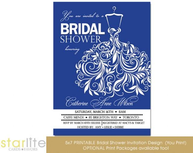 Bridal Shower Invitation Royal Blue Swirly Unique Wedding Gown