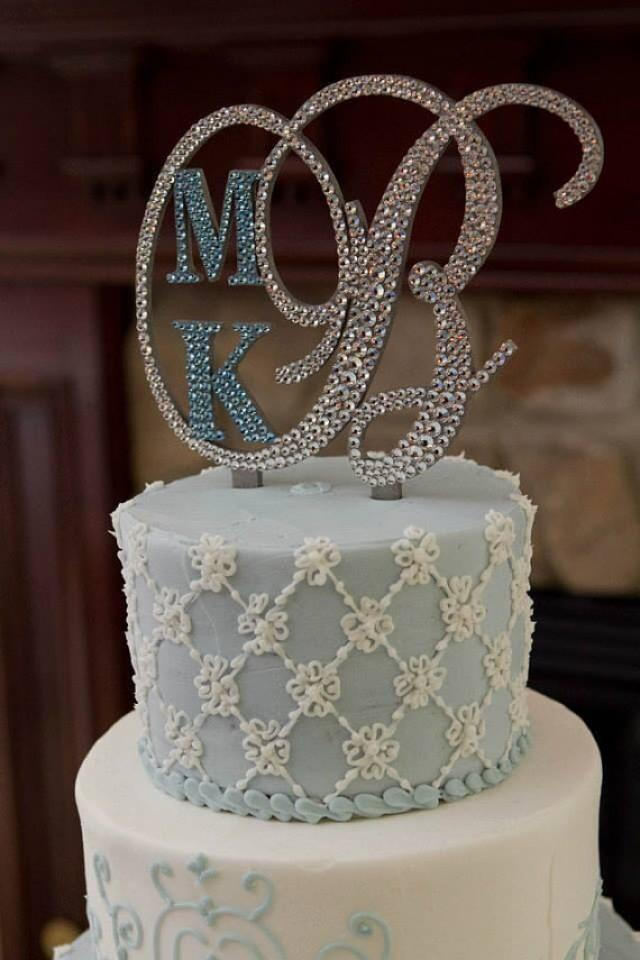 Cake Toppers Letter P : Monogram Wedding Cake Topper Crystal Initial Any Letter A ...