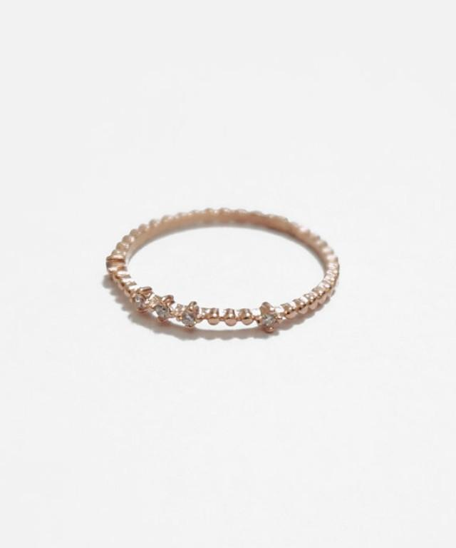 tiara beaded gold ring sterling silver stack ring