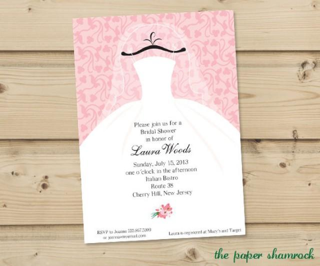 Bridal shower invitation wedding shower invitations for Wedding dress bridal shower invitations