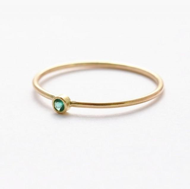 Emerald Pinky Ring Womens