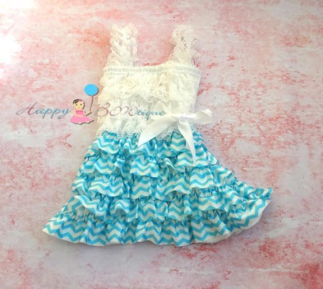 wedding photo - Tiffany Blue Chevron Dress, dress, baby dress,girls dress,Birthday outfit,girls outfit, flower girl dress, Chevron dress, lace dress, girls
