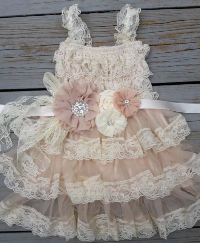 Lace flower girl dress lace flower girlrustic flower girl for Country wedding flower girl dresses