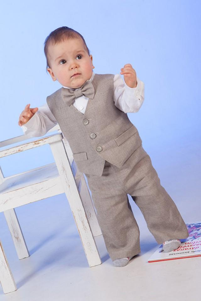 Boy Linen Suit Ring Bearer Outfit Baby Boy Natural Clothes