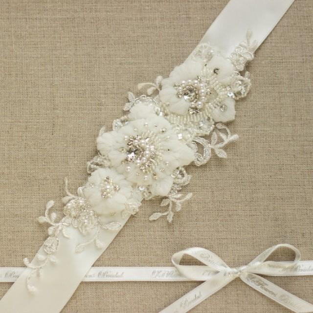 Wedding dress belt lace sash lace belt rhinestone sash for Ivory wedding dress sash