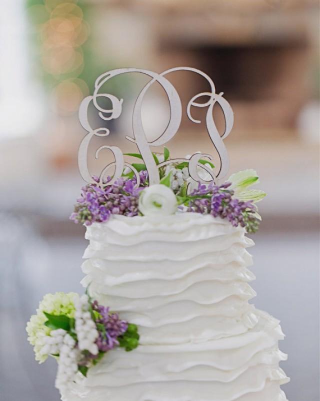 monogram wedding cake topper painted 5 wood script with spikes 2215641 weddbook. Black Bedroom Furniture Sets. Home Design Ideas