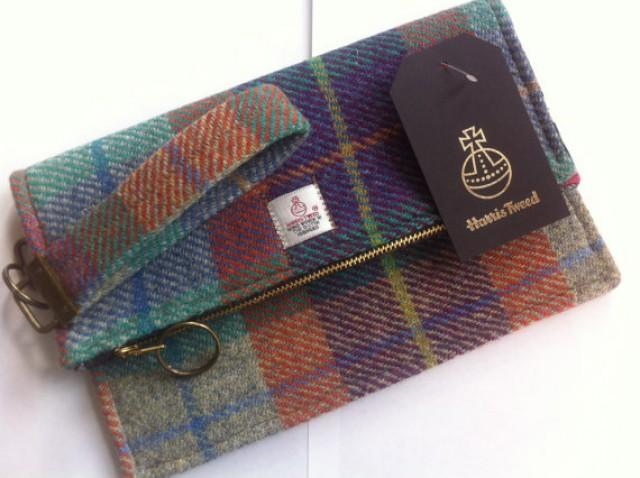 Scottish Wedding Gifts: Harris Tweed Clutch Bag, Made In Scotland, Woman Gift