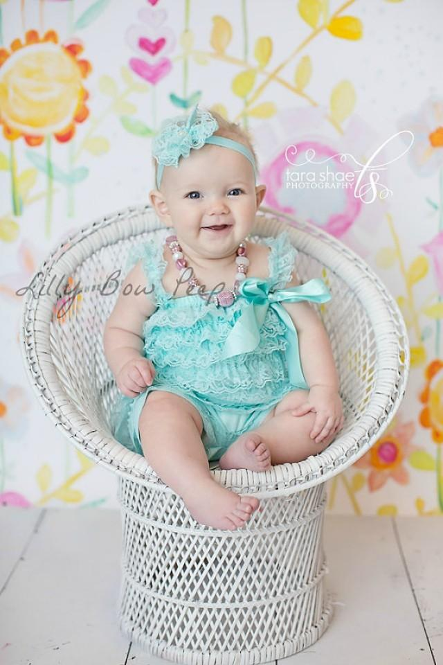 SET Blue Aqua Lace Petti Romper Lace Headband Baby Girl