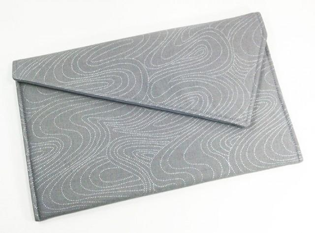 Envelope Clutch Purse - Grey With Silver - Wedding Clutch Bridesmaid Clutch New Years Eve ...