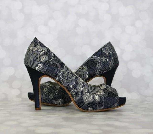 edd262fa4019 Navy Blue Wedding Shoes --Navy Peep Toe Platform Wedding Shoes with Lace  Overlay - CHOOSE YOUR COLOR