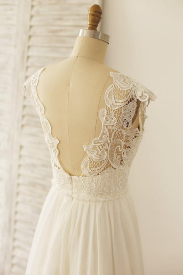 Backless lace chiffon wedding dress open back beach boho for Deep back wedding dress