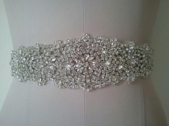 Wedding belt applique bridal rhinestone applique with for Sparkly belt for wedding dress