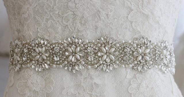Wedding Dress Accessories Belt : Wedding belt ivory champagne evening gown dress vintage accessories
