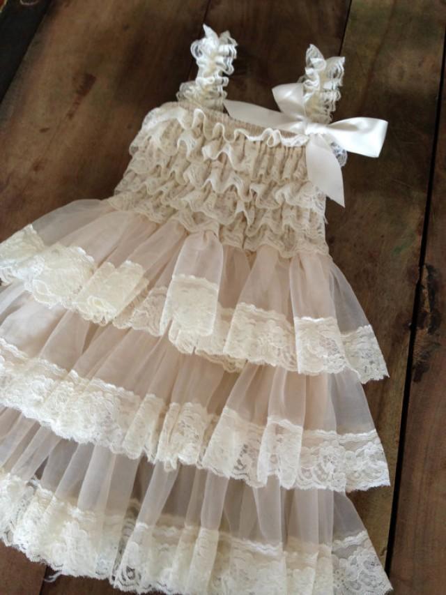 Wedding Dress Lace Flowers : Flower girl lace dress ivory bridesmaid