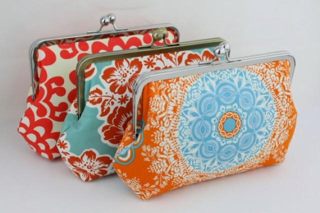 wedding photo - Design Your Own Wedding Clutches / Bridesmaid Clutches (Agnes Style Clutch) - over 400 fabulous fabrics to choose from - Set of 4