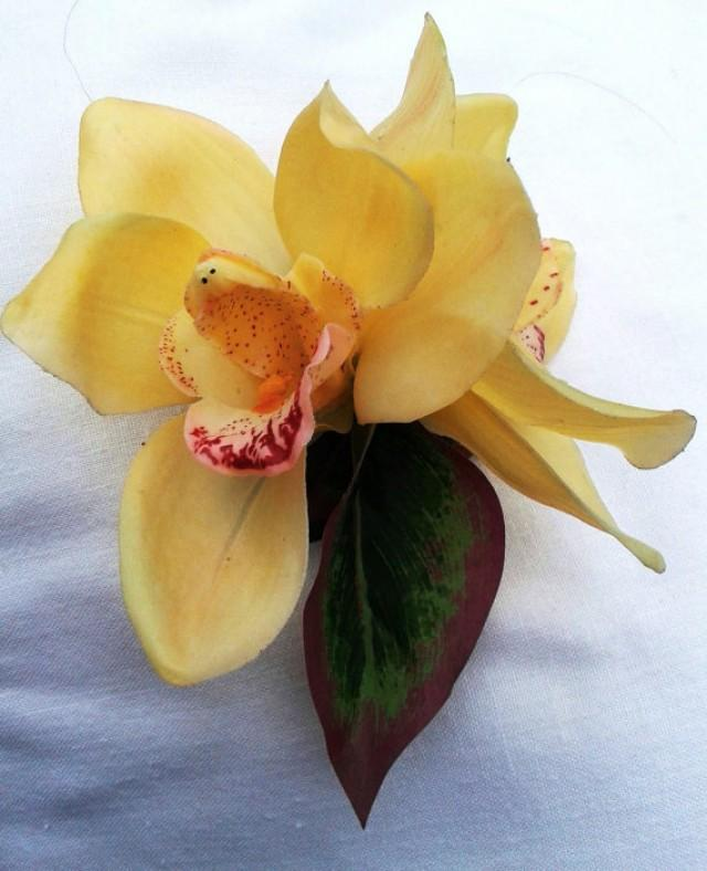 Tropical Wedding Hairstyles: YELLOW ORCHID HAIR Flowers, Silk Hair Flowers, Bridal