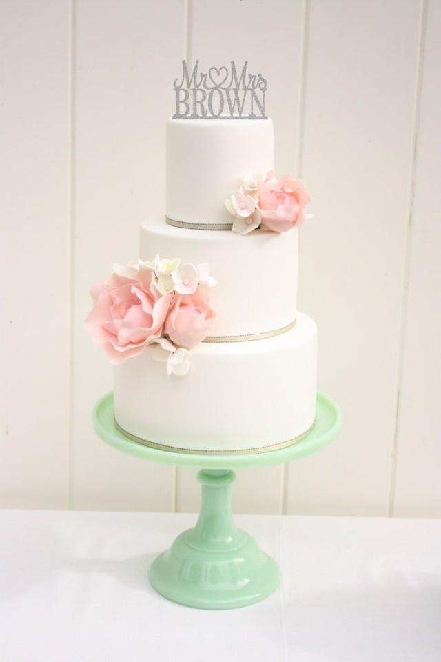 Wedding Cake Design Names : Glitter Wedding Cake Topper Mr And Mrs Topper Design With ...