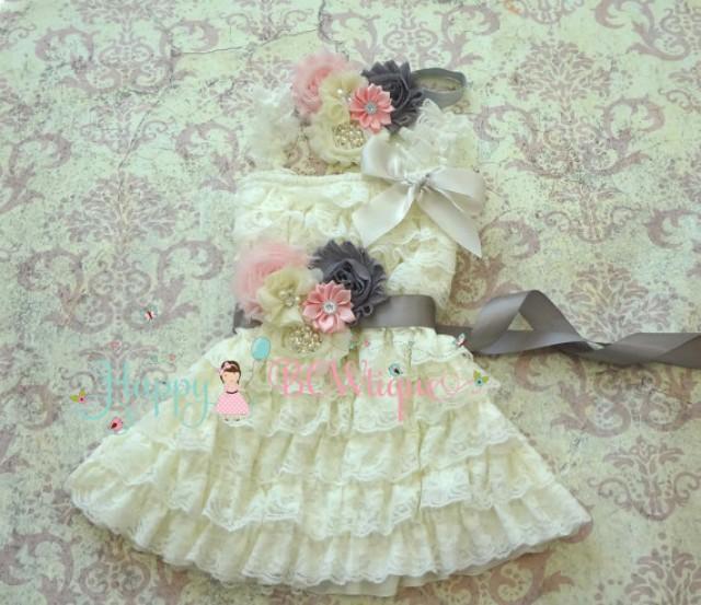 wedding photo - Girls Dress- Ivory PInk Grey Petti Lace Dress set, ruffle dress, baby dress, Birthday outfit, baby girl, flower girl dress, Ivory dress set