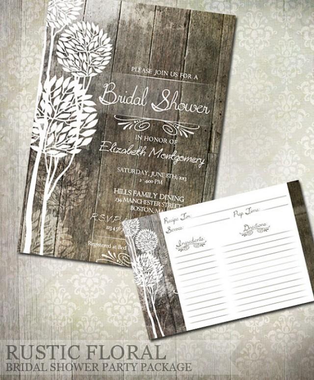 rustic wood bridal shower invitations u0026 recipe cards weddbook
