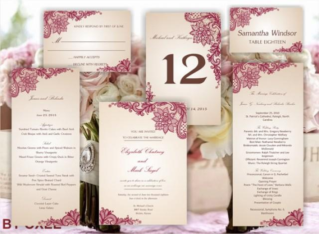 Printable Set Of Wedding Templates Invitation RSVP Card Program Menu Table Number And Place