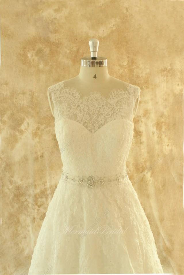 Ivory a line lace wedding dress bridal gown with elegant for Ivory wedding dress sash