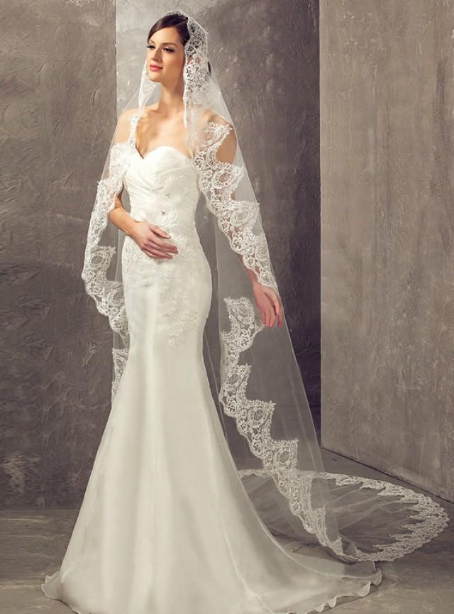 Lace Wedding Dress And Veil : Exclusive embroidery alencon lace cathedral length wedding