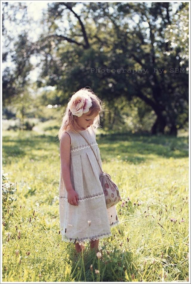 Flower girl dress country linen flower girl dress for Country wedding flower girl dresses