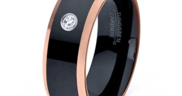 black tungsten ring 18k rose gold black band black