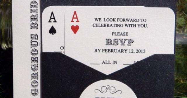 Panel pocket classic vegas vegas or poker themed for Las vegas themed wedding invitations uk