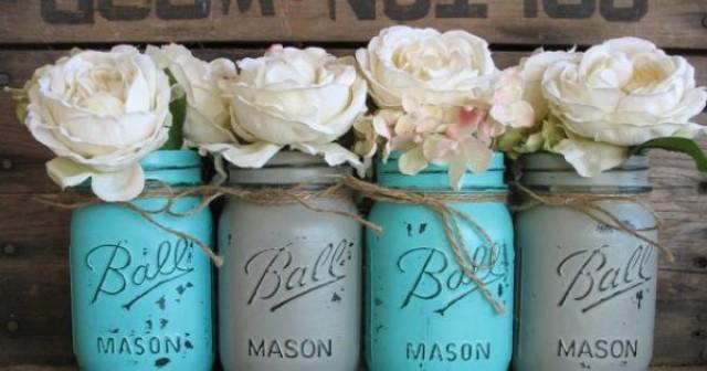 Pint Mason Jars Ball Jars Painted Mason Jars Flower Vases Rustic
