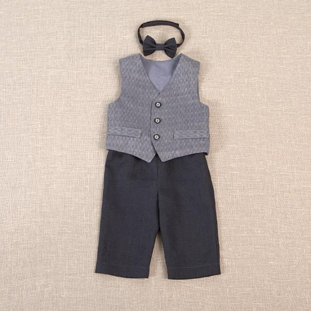 Baby Boy Linen Suit Ring Bearer Outfit Baptism Baby Boy